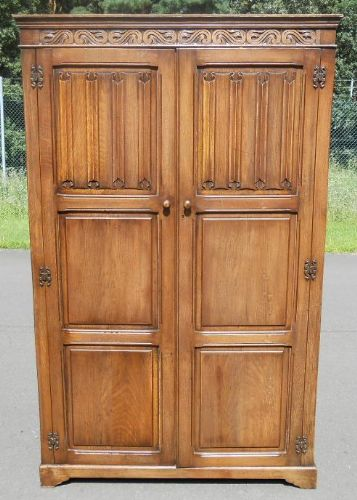 Carved Oak Hanging Two Door Wardrobe - SOLD